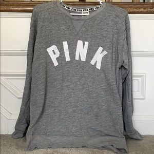 A gray long sleeve Pink sweater